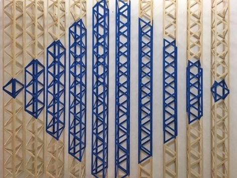Rasheed Araeen Untitled (Blue) 2015 Wood and paint 73 x 86 x 5 in.