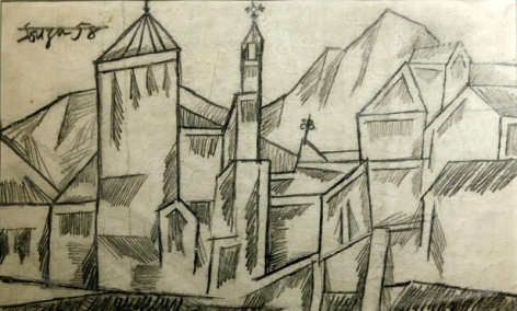 F.N. Souza UNTITLED (LANDSCAPE WITH CHURCH) 1958 Graphite on paper 8 x 13 in.