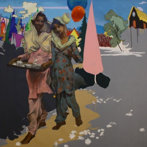 Salman Toor UNTITLED (SERVANT AND GIRL) 2010 Oil on canvas 74.5 x 74.5 in.