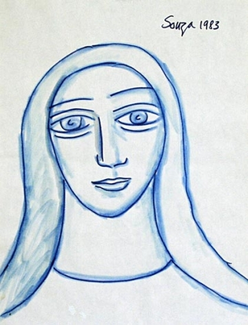 F.N. Souza UNTITLED (BLUE WOMAN PORTRAIT) 1983 Ink on paper 11 x 8.5 in.  SOLD
