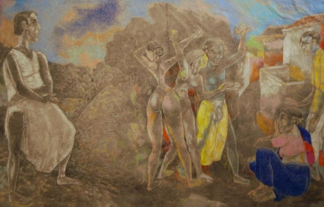 Laxma Goud 3 DANCING FIGURES, 3 WATCHING 1991 Pencil, Crayon on paper 14.5 x 22.4 in.