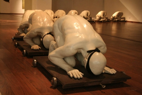 G.R. Iranna THE BIRTH OF BLINDNESS 2007 Fiberglass, wood, iron, cloth 27 x 26 x 42 in. each (x10 figures)