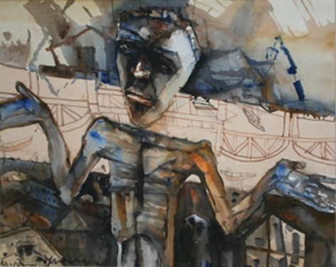 Shyamal Dutta-Ray MAN SHRUGGING 2004 Watercolor on paper 19.5 x 23.5 in.