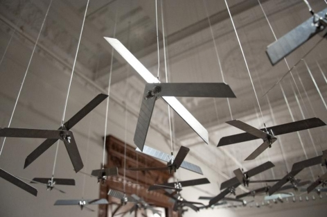 Abdullah M. I. Syed THE FLYING RUG OF DRONES (Ed. of 3) 2009 Box-cutter knife blades and stainless steel 48 x 96 in.