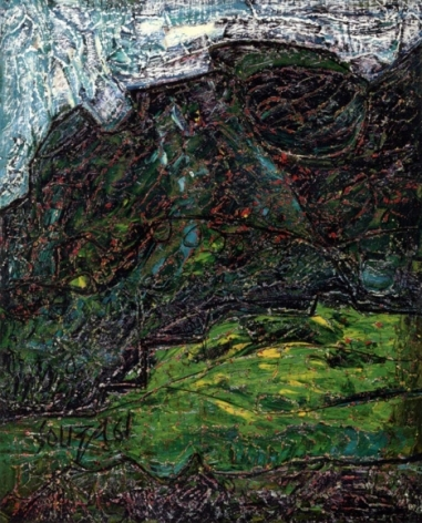F.N. Souza  Landscape (Green Shrub)  1961  Oil on board  30 x 24 in.