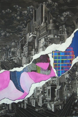 Jen Liu FUGUE STATE: ON THE STRIP 2010 Watercolor and ink on paper 79 x 53 in.  NFS