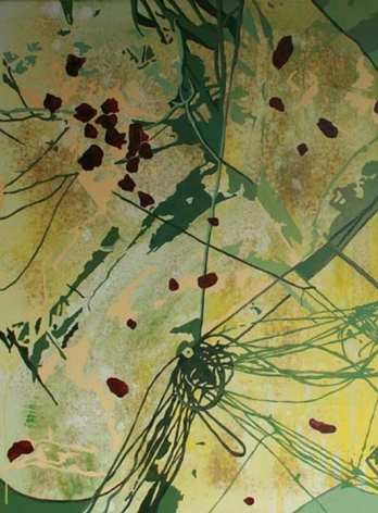 Nitin Mukul SOCIODERMIS 2007 Oil, acrylic and tea stain on canvas 48 x 36 in.