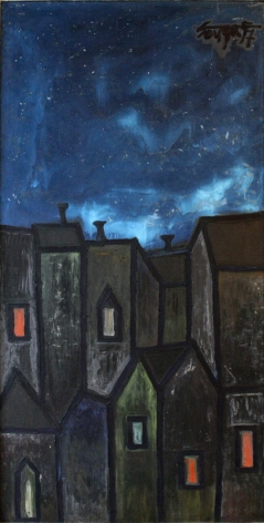 F. N. Souza HOUSES AT NIGHT 1957 Oil on board 48 x 24 in.