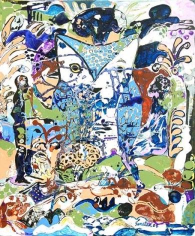 Sanatan Saha UNTITLED (BLUE OWL) 2008 Acrylic and oil on canvas 36 x 30 in.
