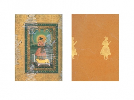 Muhammad Zeeshan DYING MINIATURE II (DIPTYCH) 2008 Gouache and gold-leaf on wasli 14.5 x 10 in. each  SOLD