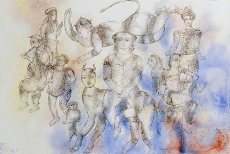 Sakti Burman HANUMAN FLYING IN THE ENCHANTED WORLD OF COMEDIANS 2008 Watercolor on paper 31.5 x 47 in.