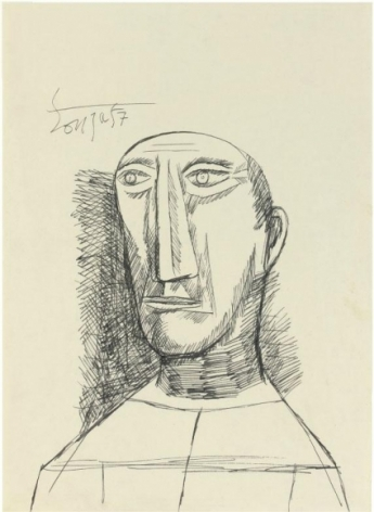 F. N. Souza UNTITLED (PORTRAIT) 4 1957 Ink on paper 15 x 10.5 in.