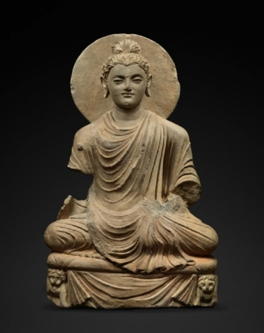 Seated Buddha with Lions Ancient Region of Gandhara Grey schist 2nd/3rd Century 18.75 in.