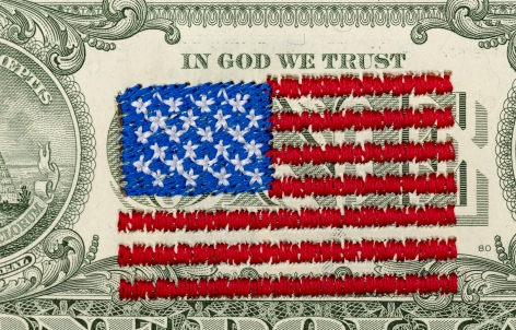 Abdullah M. I. Syed, Money Flag: USA (1 US$ Verso) (Detail), 2020