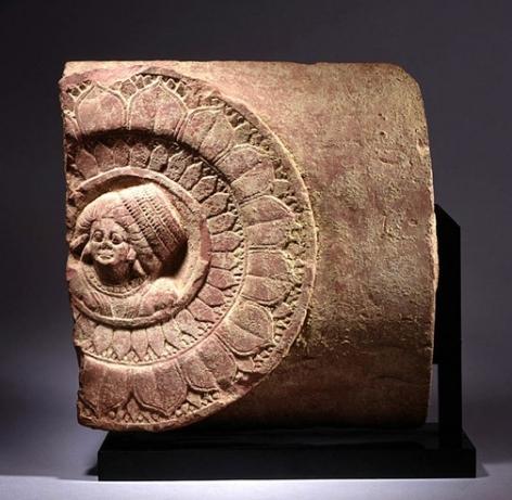 Kushan Architectural Element Ancient Region of Gandhara, Kushan Period Pink sandstone c. 2nd Century 16.25 in.