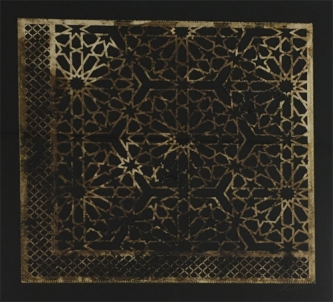 Anila Quayyum Agha Intersections - Black 1 2016 Mixed media on paper (Marbled and encaustic, laser-cut pattern on paper with embroidery) 27.5 x 27 in.
