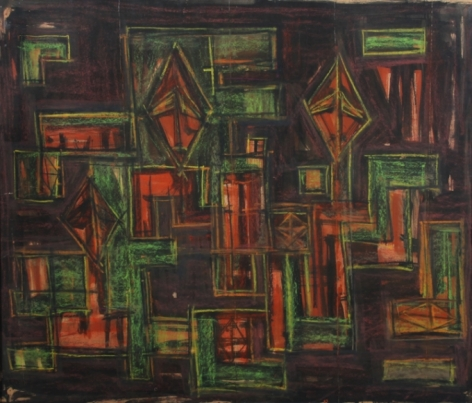 Rasheed Araeen Hyd V 1963 Watercolor, pastel and black ink on paper 25 x 29.5 in.