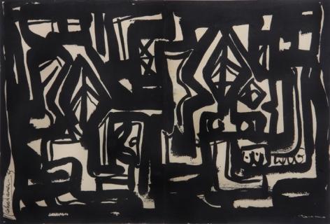 Rasheed Araeen Hyd VI 1963 Black ink on paper 10 x 15 in.
