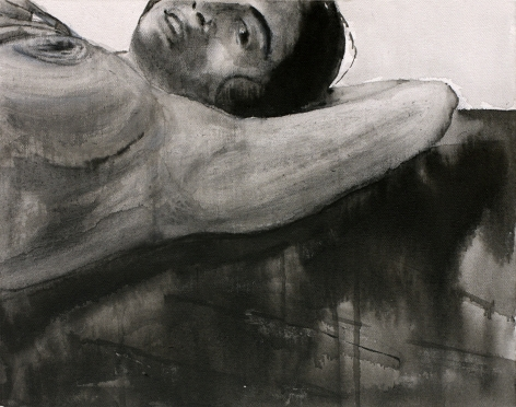 Sharmistha Ray NUDE 5 2013 Charcoal and ink on canvas 12 x 16 in.
