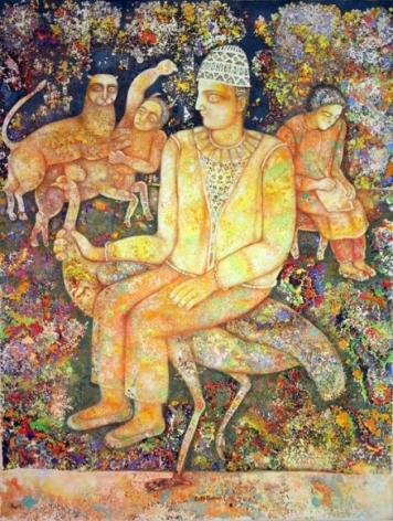 Sakti Burman LONELY POET 2007 Oil on canvas 45.5 x 34.5 in.  NFS