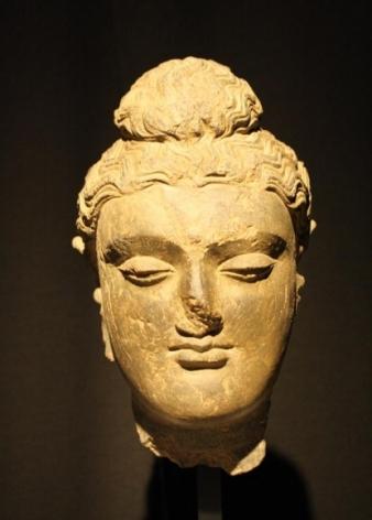 Head of Buddha Ancient Region of Gandhara Grey schist 2nd - 4th Century 9.75 in.