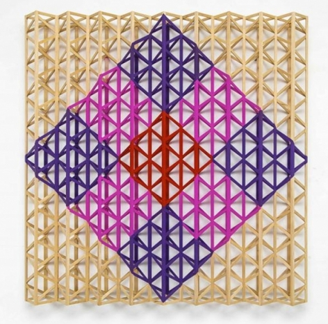 Rasheed Araeen Red Square Breaking Into Rainbow Colors 2015 Acrylic on wood 63 x 63 x 7 in.