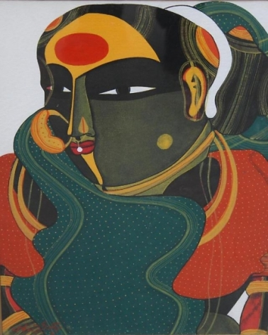 T. Vaikuntam LADY WITH GREEN SARI Acrylic on canvas 16 x 12 in.