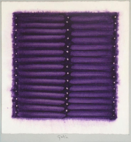 Sohan Qadri UNTITLED 1 (PURPLE STRIPES IN WHITE BACKGROUND) Watercolor on paper 8 x 8 in