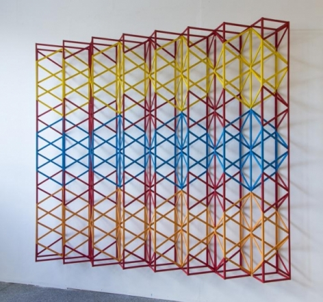 Rasheed Araeen PEHLI SI MUHABUT 1971 (2014-15) Wood and paint 73 x 84 x 10 in