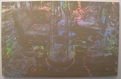 Justin Ponmany RADDI 2009 Acrylic on canvas 75.25 x 48 in.