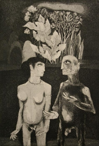 K. Laxma Goud TWO NAKED FIGURES 1980 Etching 8 x 5.5 in.