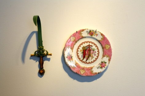 Adeela Suleman THANK YOU FOR YOUR SERVICE 1 2014 Found porcelain plate with enamel paint and hand-painted dagger Plate: 6.5 x 6.5 in. / Dagger: 8 x 2.5 x 4 in.