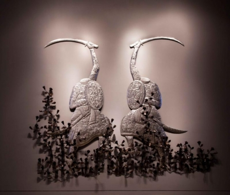 Adeela Suleman MUBARIZUN - NO MORE SERIES (FIGHTING YET AGAIN) (Ed. of 2) 2015 Hand-beaten stainless steel and iron Figures: 72 x 36 in. each.