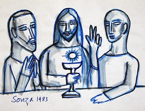 F. N. Souza UNTITLED (CHRIST WITH TWO DICIPLES) 1983 Ink on paper 8.5 x 11 in.
