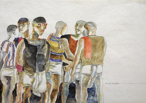 K. Laxma Goud SIX MEN GATHERING Watercolor on paper 10.5 x 14.5 in.  SOLD
