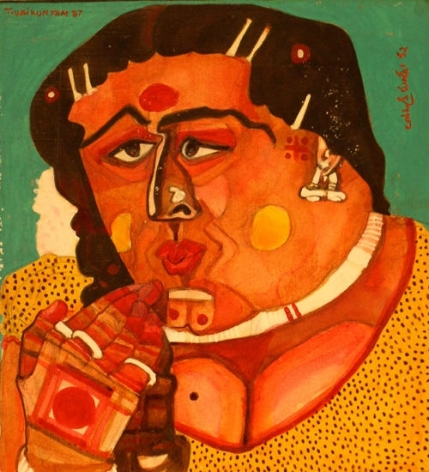 Thota Vaikuntam WOMAN'S FACE 1988 Watercolor on board 11 x 10.5 in.