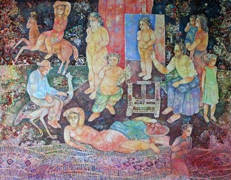Sakti Burman ARTIST WITH HIS MODEL 2007 Oil on canvas 63 x 51 in.