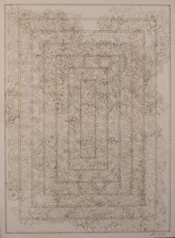 Anila Quayyum Agha Antique Lace - 3 2016 Mixed media on paper (Laser-cut patterns on paper with mylar and embroidery) 29.5 x 21.5 in.