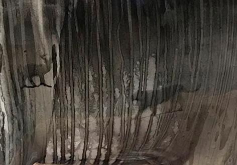Arunkumar H.G. Elephant (Detail) 2018 Paper pulp, cement, wood glue, aluminum, floor paint and clear coat 32.5 x 17.5 x 37 in.