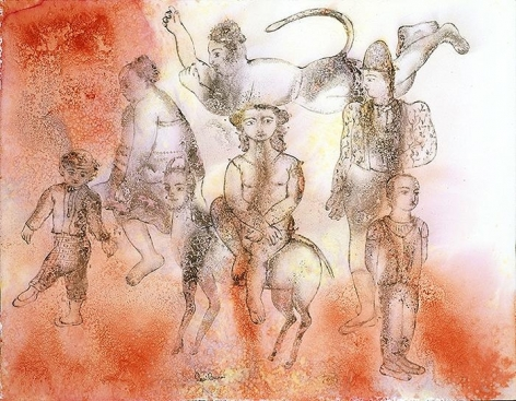 Sakti Burman HANUMAN WITH THE COMEDIANS 2008 Watercolor on paper 20 x 25.5 in.