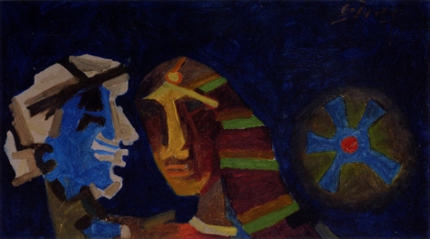 M. F. Husain UNTITLED (HEADS - BLUE) 1970 Oil on canvas 19 x 34 in.