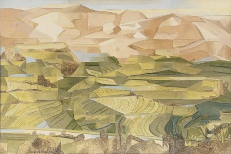 Jehangir Sabavala RICE FIELDS, PALNI HILLS - II 2008 Oil on canvas 40 x 60 in.