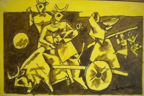 M.F. Husain UNTITLED 2006 Acrylic on canvas 25 x 38 in.