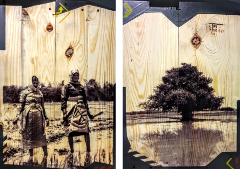 Arunkumar H.G. Vulnerable Guardians Series (Pair 8) 2018 Digital print, floor paint and clear coat on reclaimed wood 20 x 14 in. (Each)