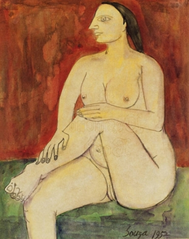 F. N. Souza SEATED FEMALE NUDE 1 1952 Watercolor on paper 9.5 x 7.5 in.