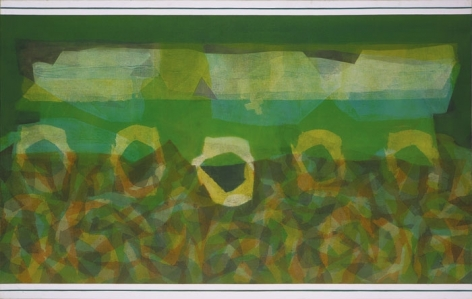 Manish Pushkale UNDER GREEN FEVER 2008 Oil on canvas 60 x 96 in.