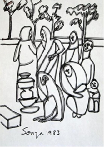 F N Souza UNTITLED (PEOPLE GATHERING) 1983 Ink on paper 11 x 8.5 in.