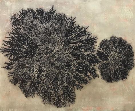 G. R. Iranna Black Branches 2018 Acrylic and coal powder on tarpaulin 54 x 66 in.