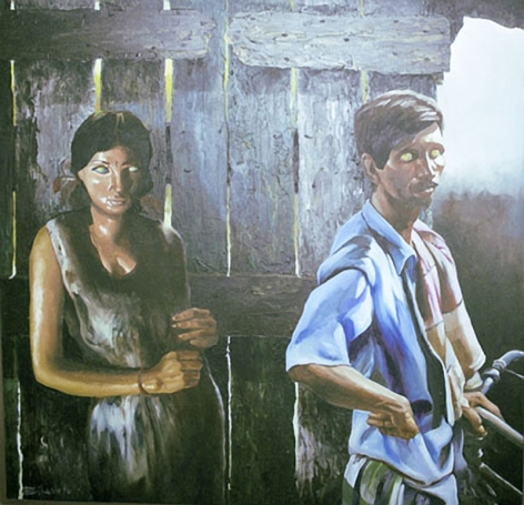 Bikash Bhattacharjee And Tout 1996 Oil on canvas 46 x 46 in.