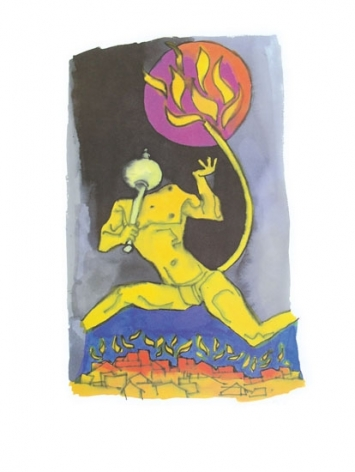 M F Husain HANUMAN WITH TAIL ON FIRE Serigraph edition of 350 individual serigraph $2,000; set of 3 $5,000  24 X 18 inches
